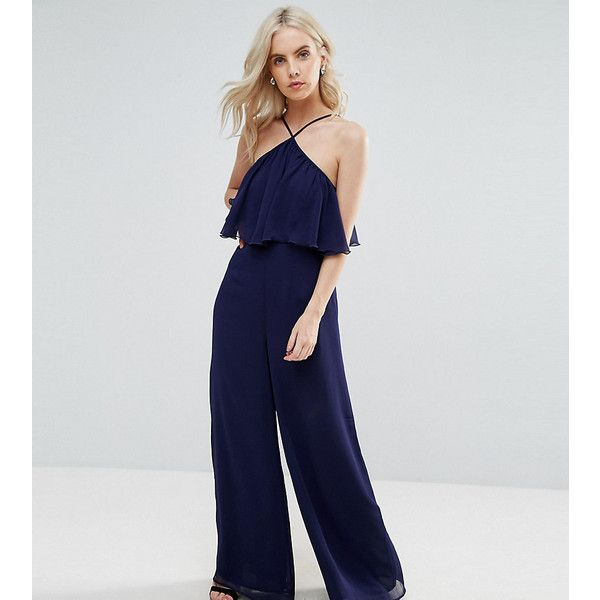 ASOS PETITE Jumpsuit in Crinkle with Wide Leg and Halter Neck (89 AUD) ❤ liked on Polyvore featuring jumpsuits, navy, petite, navy halter top, navy blue halter top, navy jumpsuit, tall jumpsuit and petite jumpsuit