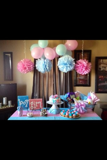 Gender Reveal Party. I like the hanging Pom Pom things!