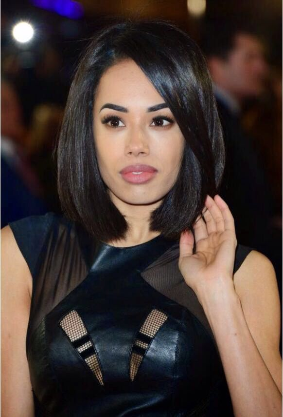 Jade Ewen bob hairstyle. As shown at London film premiere. Hair styled at Matthew David Bespoke, Mayfair, London