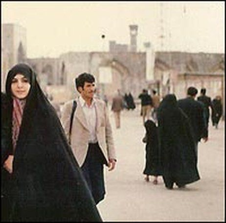 The author, wearing a chador in the holy city of Mashhad, Iran in 1985.