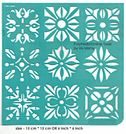 """Stencil Stencils Pattern Template """"Squares"""" 6 inch/15 cm, reusable, adhesive, flexible, for polymer clay, fabric, wood, glass, card making"""