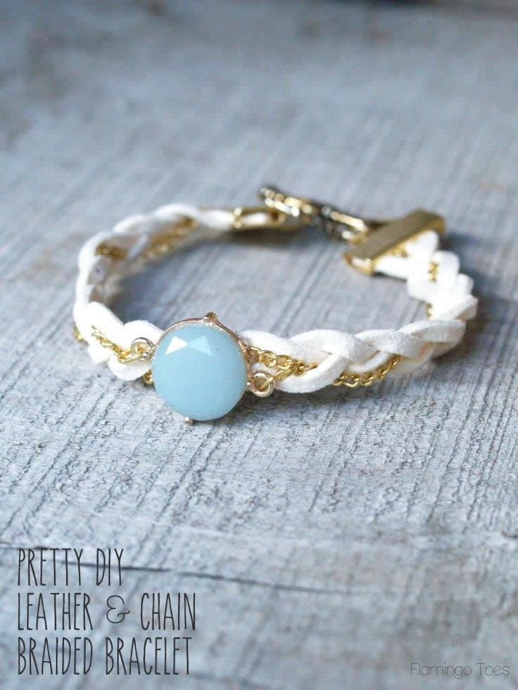 Pretty DIY Leather and Chain Bracelet