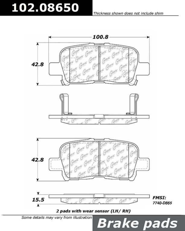 Brand : centric, Part Number : 102.08650,  Price : $12.77,  Warranty : 2 Years,  Category : Brake Pad,  Description : Get Best Discount Deals for Your Auto Parts, More than 3 Million Parts in The Auto Parts Shop Website