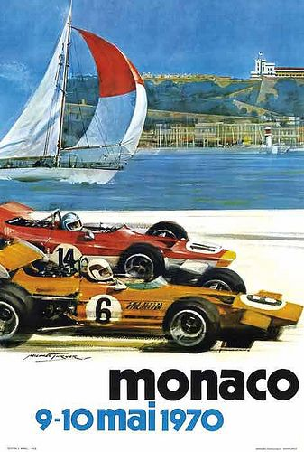 Grand Prix de Monaco 1970 Vintage Poster #F1 #Formula1 #FormulaOne