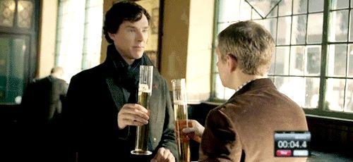 gif drunk sherlock martin freeman sherlock holmes Benedict Cumberbatch john watson 3x02 drinking sherlock bbc the sign of three stag night