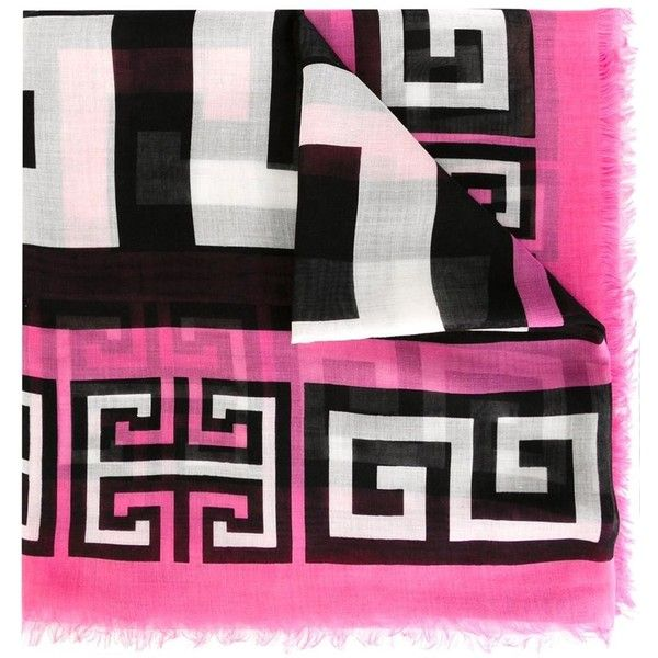 Versace #Greek Scarf (€235) ❤ liked on Polyvore featuring accessories, scarves, black and white scarves, silk shawl, versace, silk scarves and versace scarves