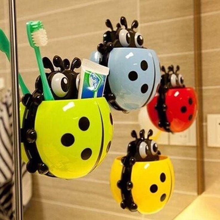 かわいい てんとう虫昆虫歯ブラシ壁吸引浴室セット漫画吸盤歯ブラシ ホルダー/吸引フック