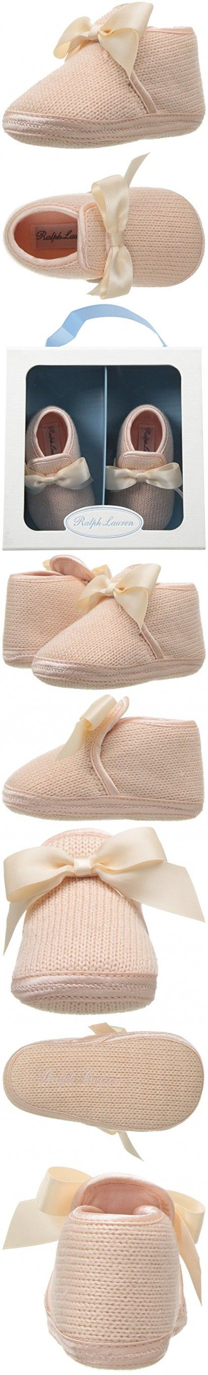 Ralph Lauren Layette Girls' Addison Light Pink Slipper, Pink Knit, 3 M US Infant