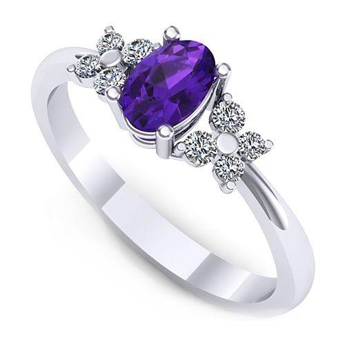Inel logodna L130AAM cu ametist si diamante