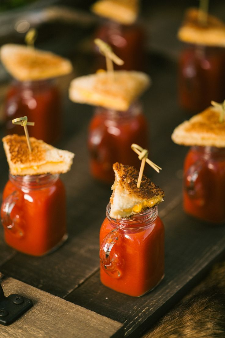 Grilled Cheese and Tomato Soup Shooters designed by Interurban Catering. Josh Fisher Photography, D'Plazzo Wedding Planning, Poppy Lane Flowers, Mishelle Handy Cakes, Virgie Mae Make Up Artist. Rockwell Catering and Events
