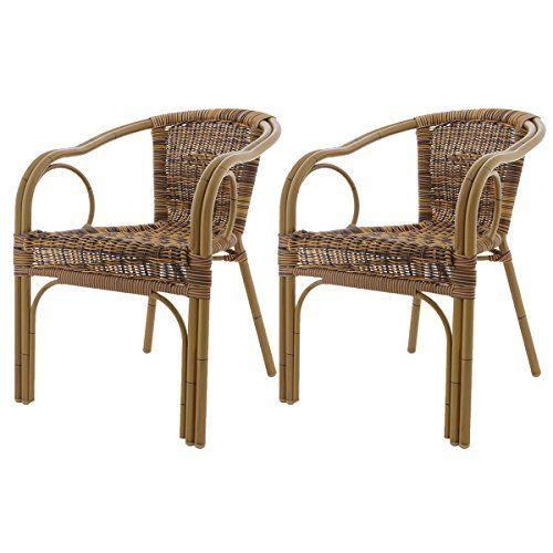 Set of 2 Ligure armchairs - brown polyrattan - aluminum