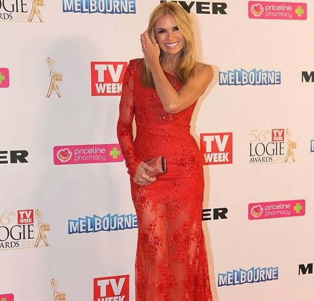 Sonia kruger wearing alex perry