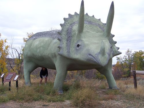 """Glendive, Montana  Glendisaurus - In a park off Highway 16 stands a triceratops with a plaque reading """"This triceratops dinosaur is dedicated to the community. It was made a reality by the people, businesses and organizations of this community through their generous donations and hundreds of volunteer hours."""""""