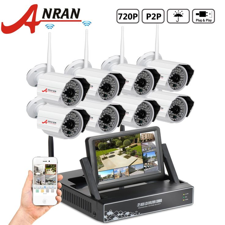 "ANRAN 8 Channel 720P Wireless Home Security Camera System with 8x 720P HD 48IR for Night Vision IP Outdoor Security Camera WIFI NVR with 7"" Monitor without Hard Drive"