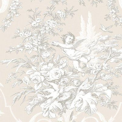 Victorian-Cherub-Floral-on-Tan-Wallpaper-Double-Roll-Bolts