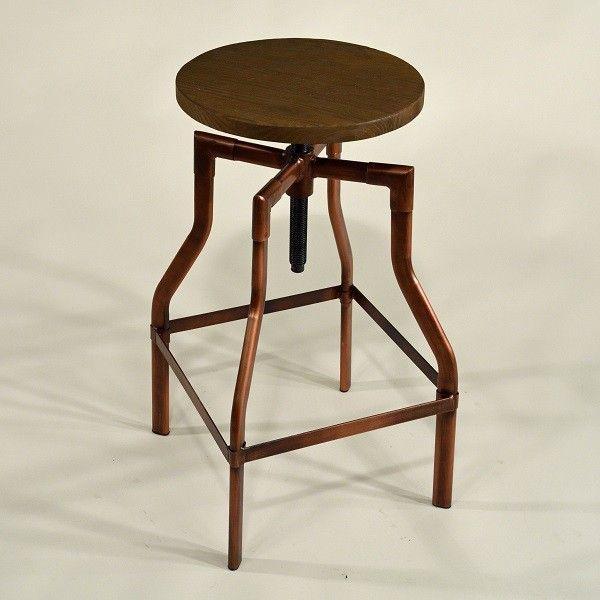 Galerie-Drehhocker verkupfert Metall Barhocker Industrial Vintage Kupfer Holzsitz #industrialdesign #industrial #barhocker #metall #raw #vintage #retro #gastro #gastrohocker #kupfer #fabrikschick