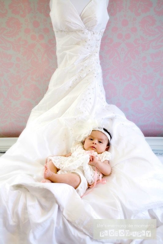 www.lmmphotography.com  3 month pictures! I hope someday she can do a little something creative with my dress to make hers! :) So excited to do her 6 month pictures with her and my dress again!