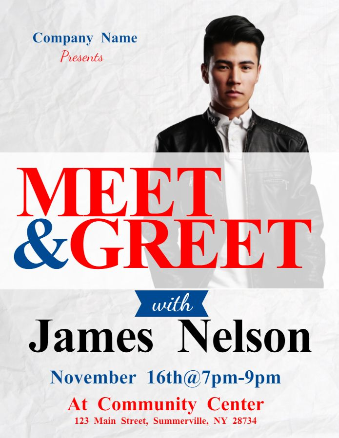 meet and greet event flyer