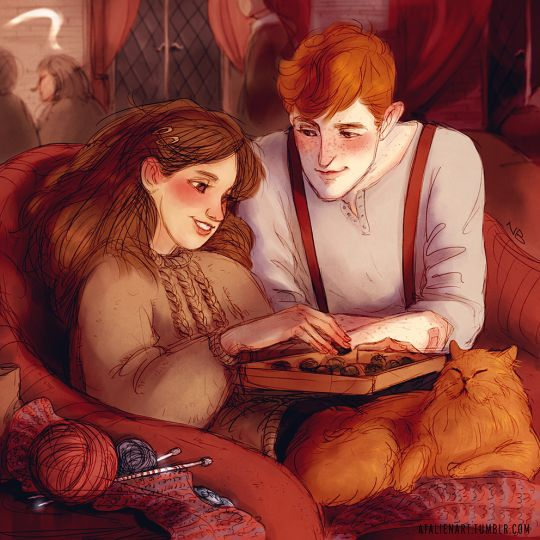 Hermione Granger & Fred Weasley by Natello's Art