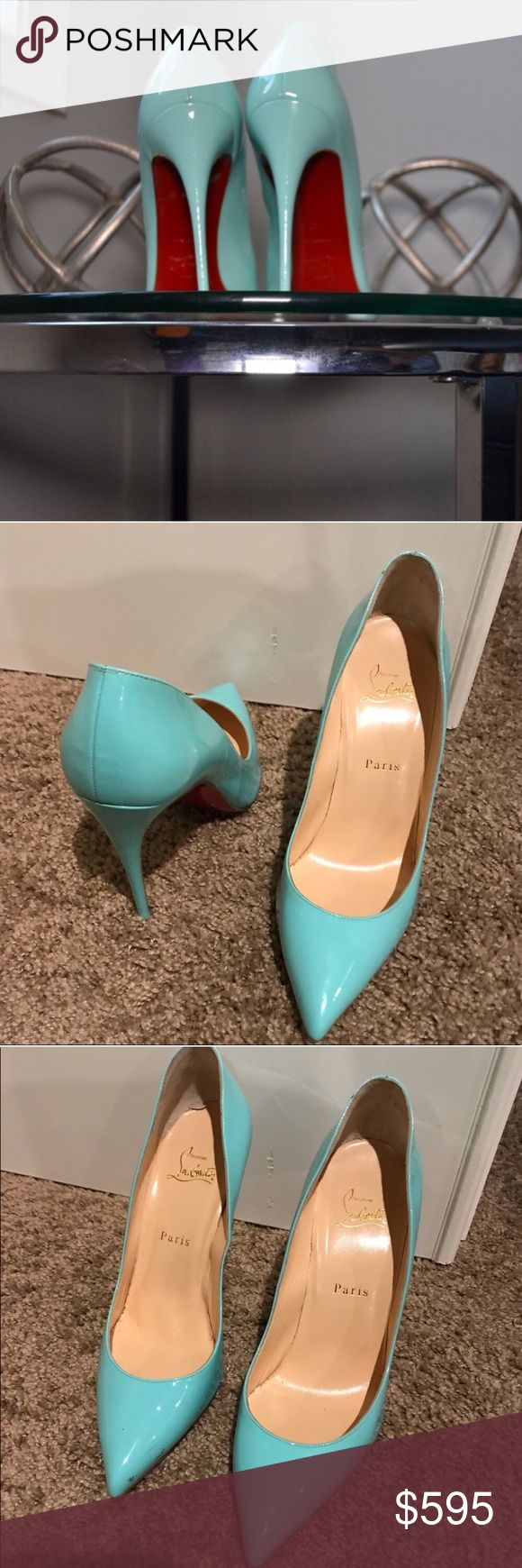 "Heels (Christian Louboutin: So Kate) Condition: Used Color: Light Blue Size: 9.5 Description: Light blue Christian Louboutin ""So Kate"" heels with red bottom; Small ding on heel. Patent is slightly scuffed. Shoes Heels"