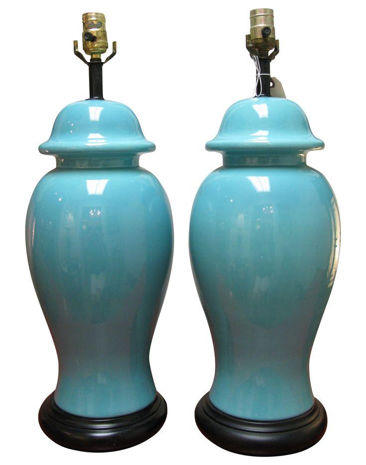 Mid-Century Blue Ceramic Ginger Jar Lamps - A Pair on Chairish.com
