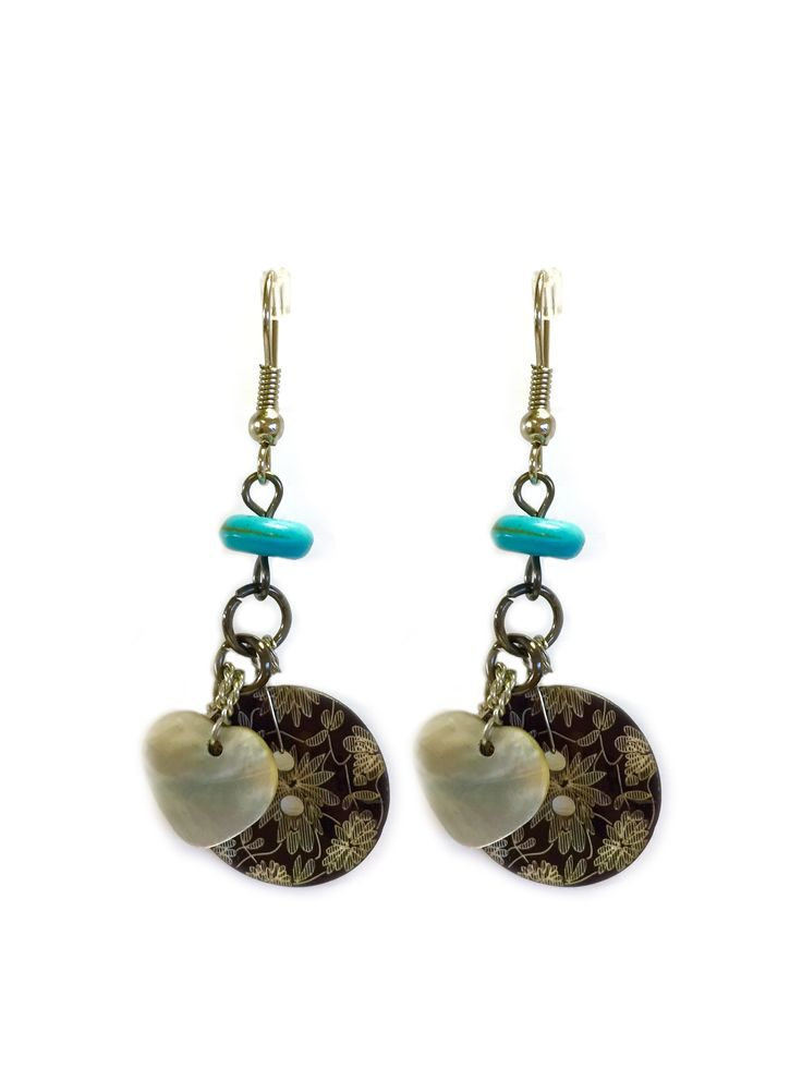 Laura One Button earrings - engraved button w/metal beads & semi prec. stones drop dk #grey #gorgeousgreens #necklace #accessories #onebutton Click to buy from the One Button shop.