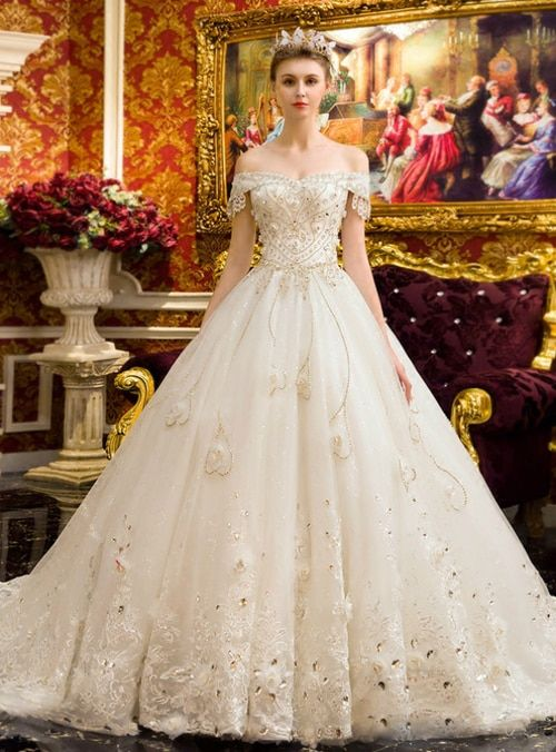 White Ball Gown Tulle Lace Appliques Off Shoulder Wedding Dress With Crystal Off Shoulder Wedding Dress Wedding Dresses Uk White Ball Gowns