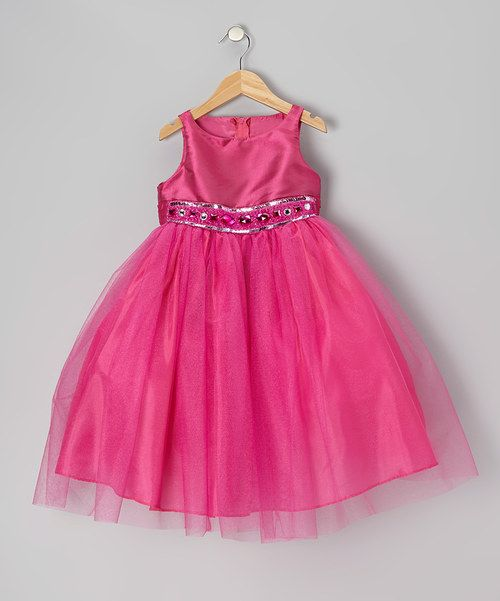 Take a look at the Fuchsia Jewel & Tulle Dress - Infant, Toddler & Girls on #zulily today!