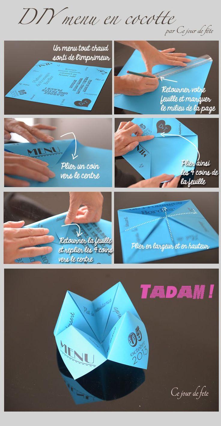 DIY du menu cocotte en papier - Modele à télécharger gratuitement Voici une idée de présentation de menu, en cocotte en papier, ça apporte un peu de fun sur votre table, et rappellera forcément des...