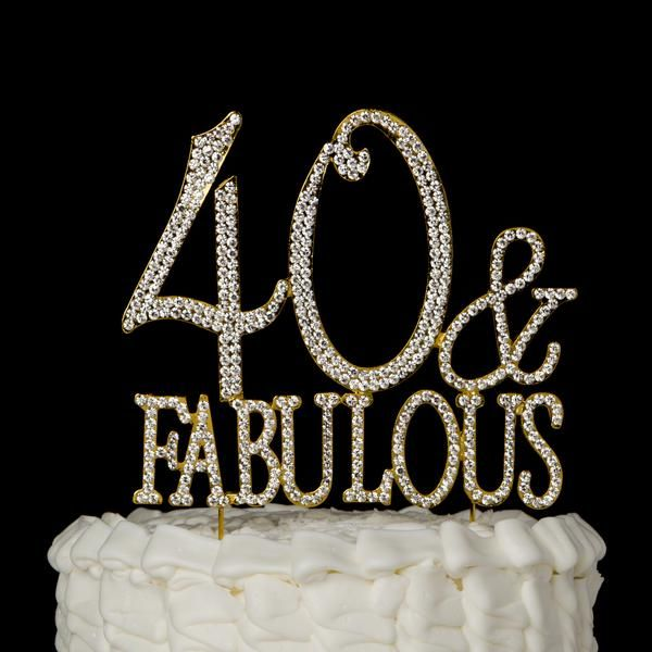 40 and Fabulous Gold Rhinestone Cake Topper - 40th Birthday Decoration Party Supplies Ideas Diamante Crystal Metal Number Bling Glitter Golden Toppers
