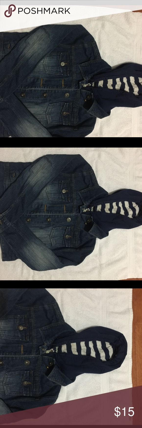 Dark Hooded Jean Jacket Aside from a button missing on the inside everything is still in great condition no stains or damages. There is the hood layer on the inside so their is a zipper and the buttons to close the Jacket. Jackets & Coats Jean Jackets