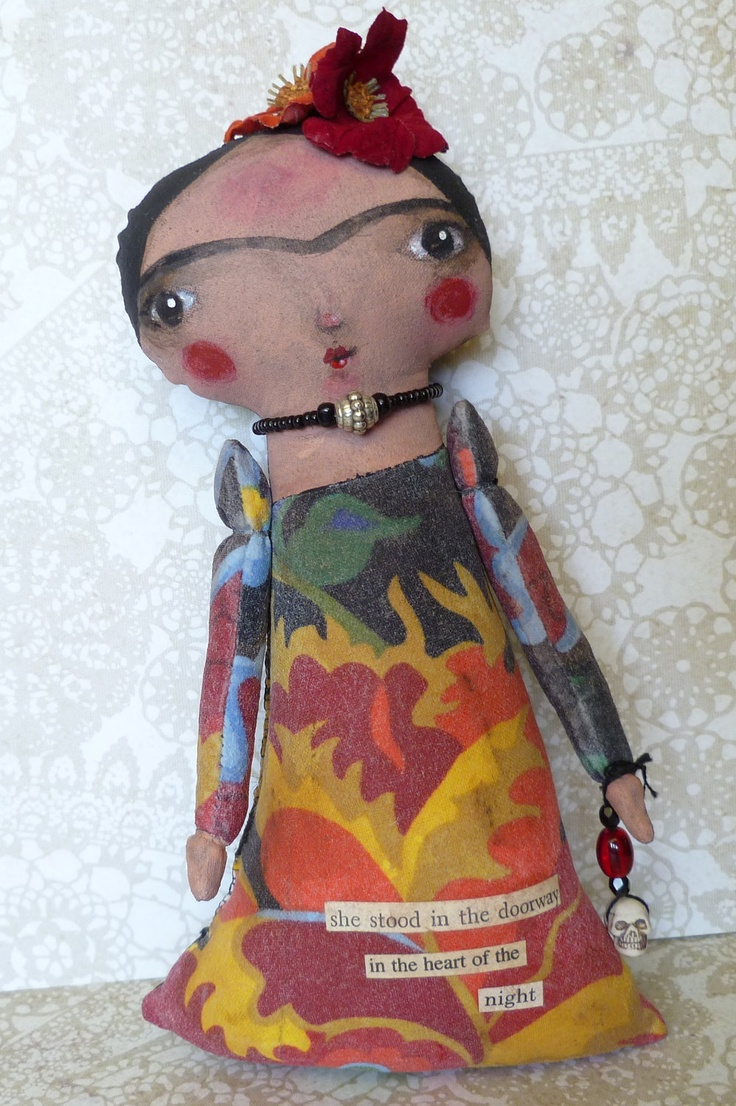 Frida Kahlo mixed media collage doll collage silk flowers vintage text acrylic paints fabric skull bead charm original art silver necklace. $40.00, via Etsy.