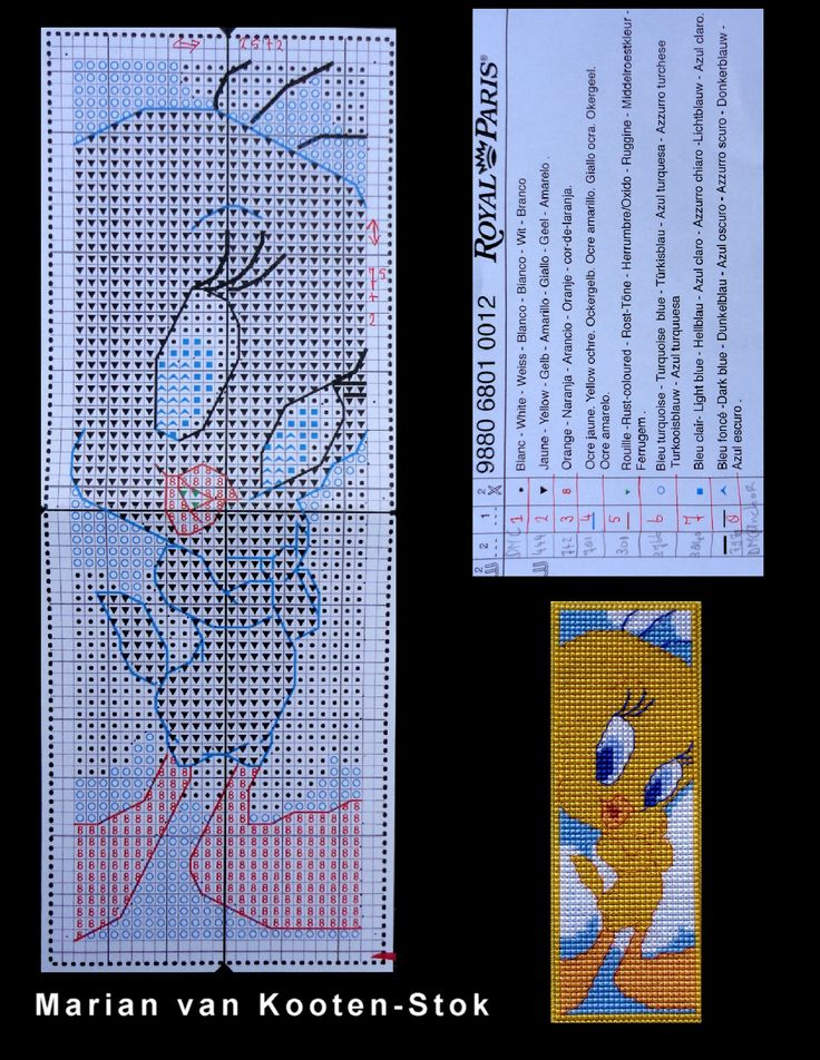 This is a pattern of the bookmark Tweety of Royal Paris that is no longer for sale.
