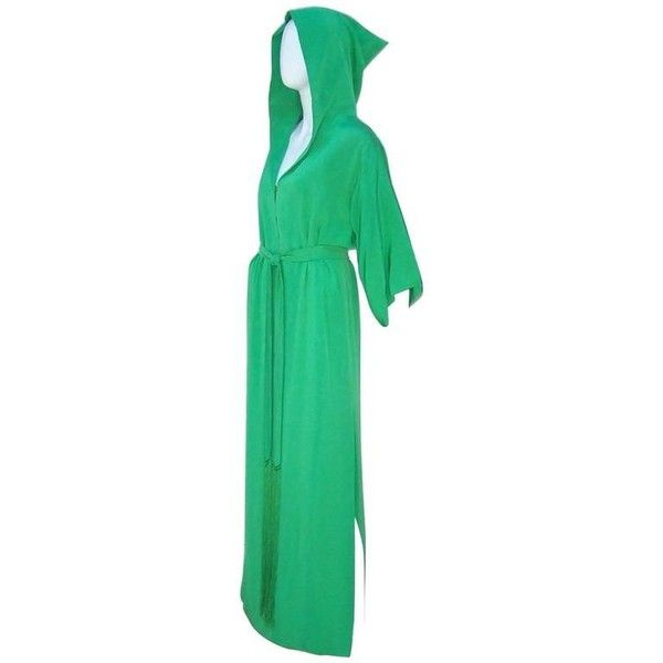 Preowned 1960's Givenchy Gorgeous Green Silk Hooded Hostess Dress Robe (43,045 PHP) ❤ liked on Polyvore featuring dresses, green, loungewear, long dresses, long polka dot dress, slit sleeve dress, green dress and slit dress