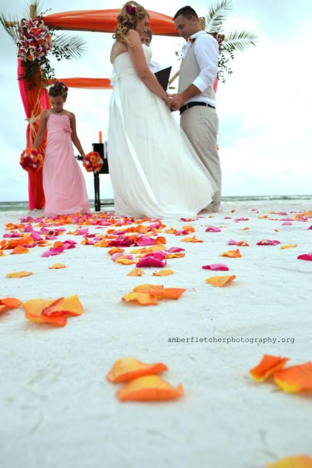 Pink and Orange Florida Beach Wedding Ceremony