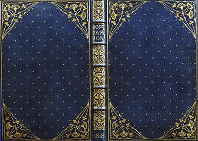 Front, back, and spine of Endymion by Keats, bound by Doves bindery 1818.