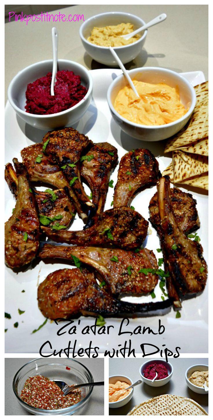 Za'atar Lamb Cutlets with Toasted Pita Bread & Dips