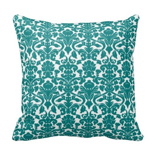 Vintage Floral Teal Damask Pillow