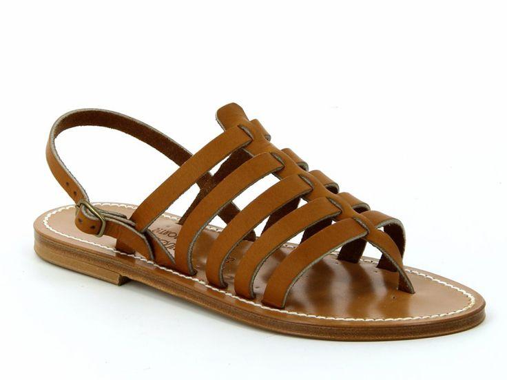 K Jacques Homère women flats sandals in tan leather - Italian Boutique €130