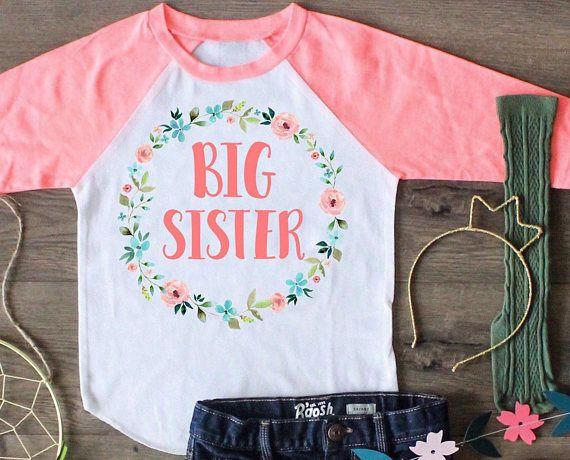 Big Sister Shirt, Big Sisters Raglan,Big Sisters Outfit, Big Sister Top, Big Sister, Announcement, Custom Shirt, Boho Shirt,