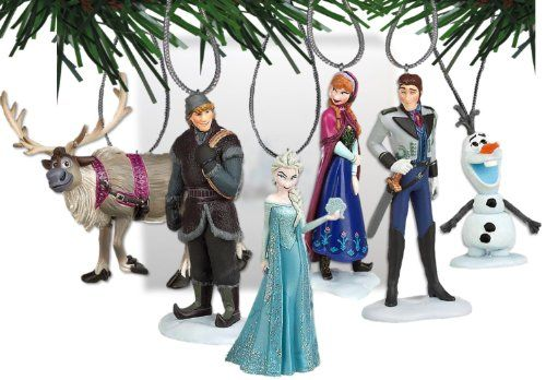 """Disney Frozen Christmas Tree Ornament Set Featuring Anna, Elsa, Hans, Kristoff, Sven the Reindeer, Olaf the Snowman - Shatterproof Plastic Ornaments Ranging from 3"""" to 4"""" Tall Frozen"""