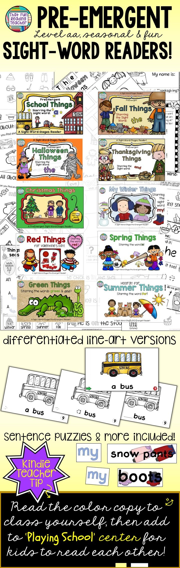 The various options included with the Sight-Word-Stages Readers in the Readers, Sentence Puzzles and Activities Sets! $