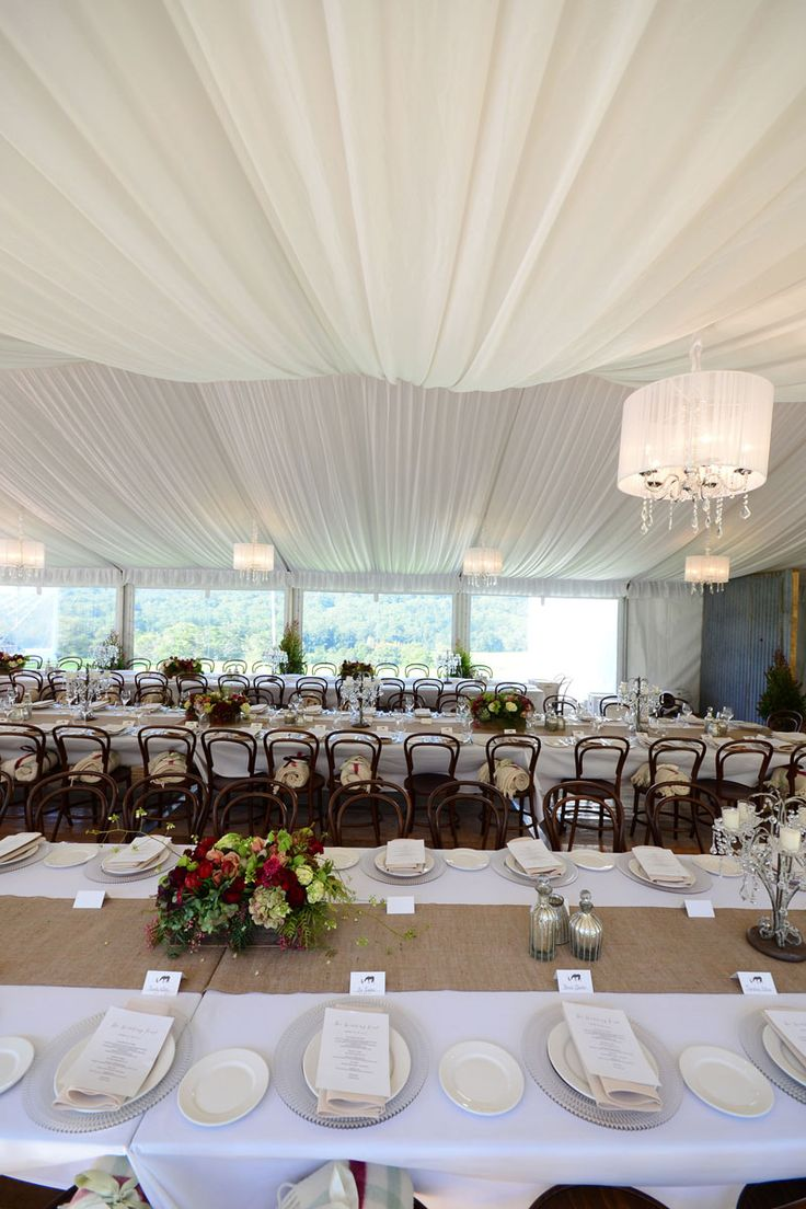 SILK LINED MARQUEE. Billowing, silk draped lining on the ceiling of this marquee creates a soft and romantic look. Our contemporary Paris Chandeliers perfectly complement the look. #YESevents #weddings #YourEventSolution
