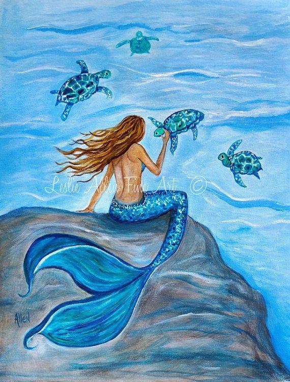 "Mermaid Art Print Giclee Wall Art Mermaids Sea Turtles Art Print Turtles Fantasy Art  ""Sea Turtle Friends"" Leslie Allen Fine Art"