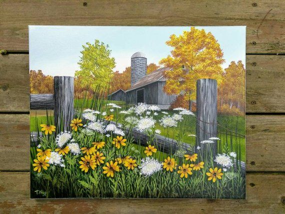 Old Barn Painting Fall Painting Original Acrylic Painting Barn
