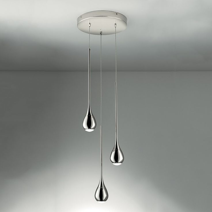 Chelsom+Teardrop+3+Light+Pendant+-+Contemporary+steel+pendant+light+in+a+polished+chrome+finish+from+Chelsom. The+Teardrop+3+Light+Pendant+has+a+round+ceiling+rose+from+which+hangs+three+teardrop+light+sources+in+a+polished+chrome+finish+with+warm+white+LED+lights. Offering+optimum+down+light,+each+teardrop+comes+with+small+ventilation+holes+that+allow+light+and+heat+to+escape. The+gorgeous+lighting+solution+will+make+a+great+addition+to+your+home+interior,+mainly+the+hallway,+lounge+or+d...