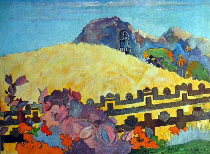 Paul Gauguin - Post Impressionism - Tahiti - Parahi te Maras - Là est le Temple - 1892