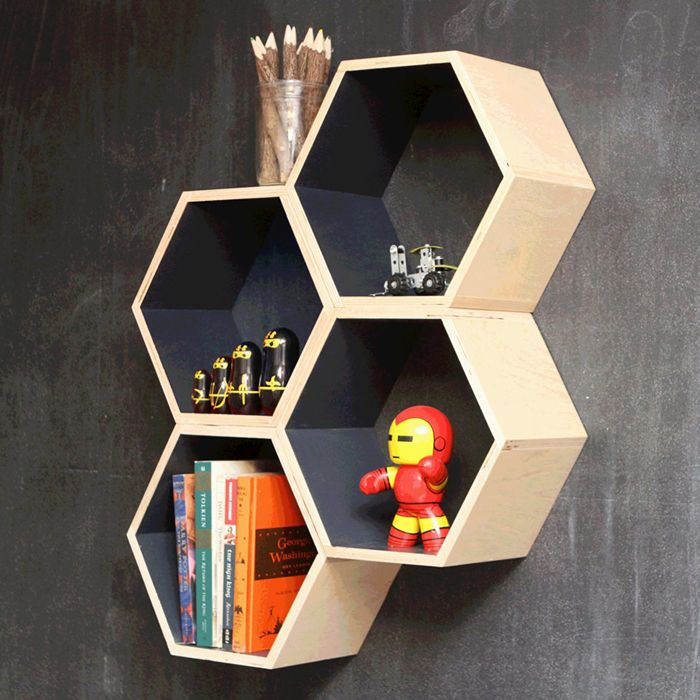 Grey Hexagon Bookshelf | dotandbo.com