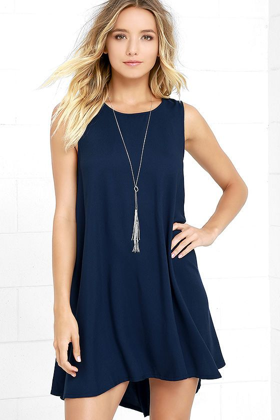 Go from good to great as soon as you slip on the BB Dakota Kenmore Navy Blue Swing Dress! Woven rayon shapes a rounded neckline and sleeveless bodice that transitions into a loose, swing dress.