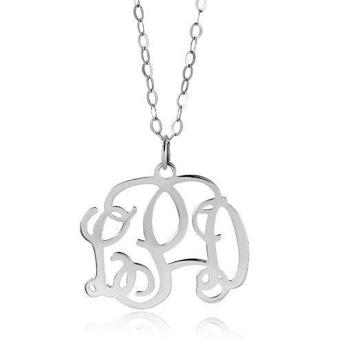 Monogram Necklace 925  Sterling Silver Celebrity Monogram Custom Made Necklace Pugster.com